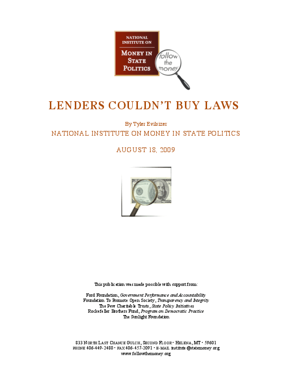 Lenders Couldn't Buy Laws
