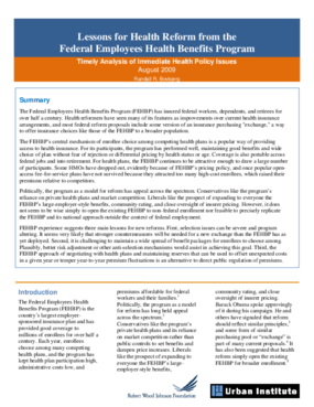 Lessons for Health Reform From the Federal Employees Health Benefits Program