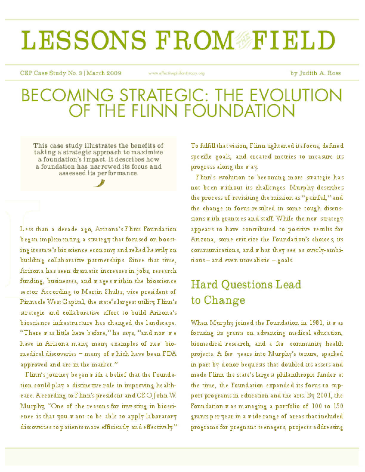 Lessons From the Field: Becoming Strategic: The Evolution of the Flinn Foundation