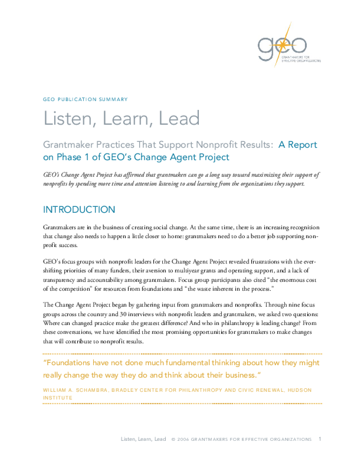 Listen, Learn, Lead: Grantmaker Practices That Support Nonprofit Results: Executive Summary