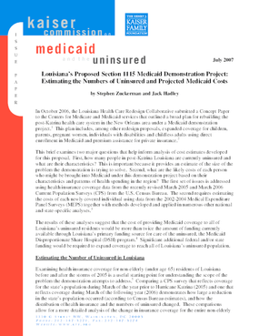 Louisiana's Proposed Section 1115 Medicaid Demonstration Project: Estimating the Numbers of Uninsured and Projected Medicaid Costs