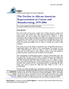 The Decline in African-American Representation in Unions and Manufacturing, 1979-2006