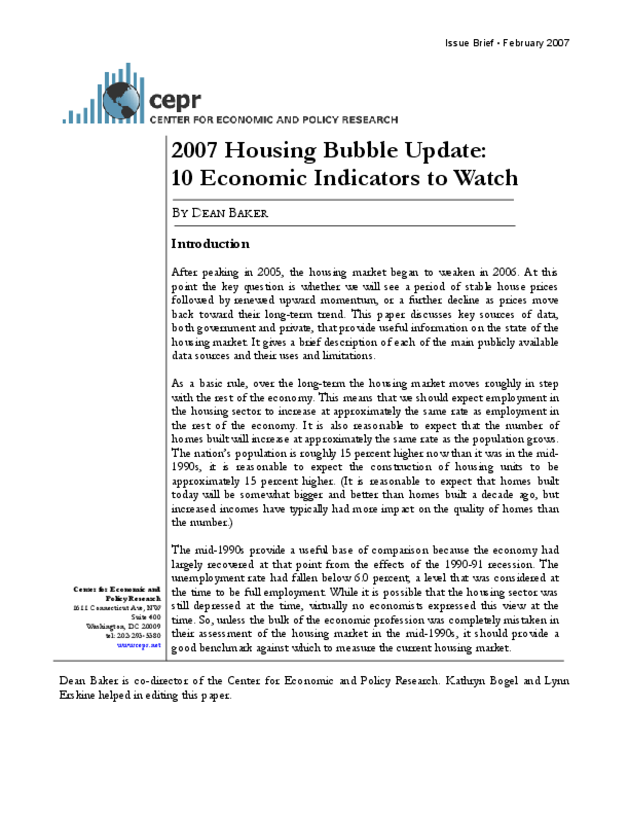 2007 Housing Bubble Update: 10 Economic Indicators to Watch
