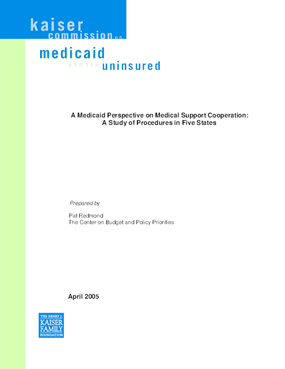 A Medicaid Perspective on Medical Support Cooperation: A Study of Procedures in Five States