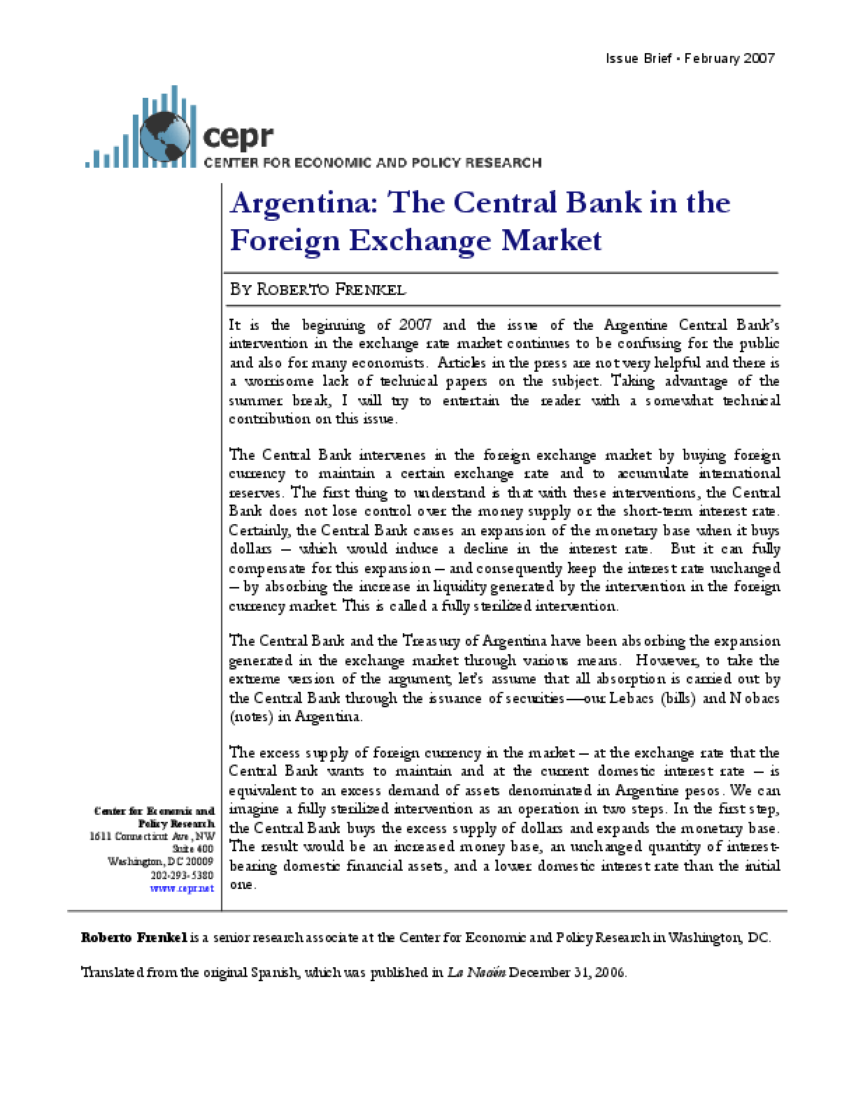 Argentina: The Central Bank in the Foreign Exchange Market