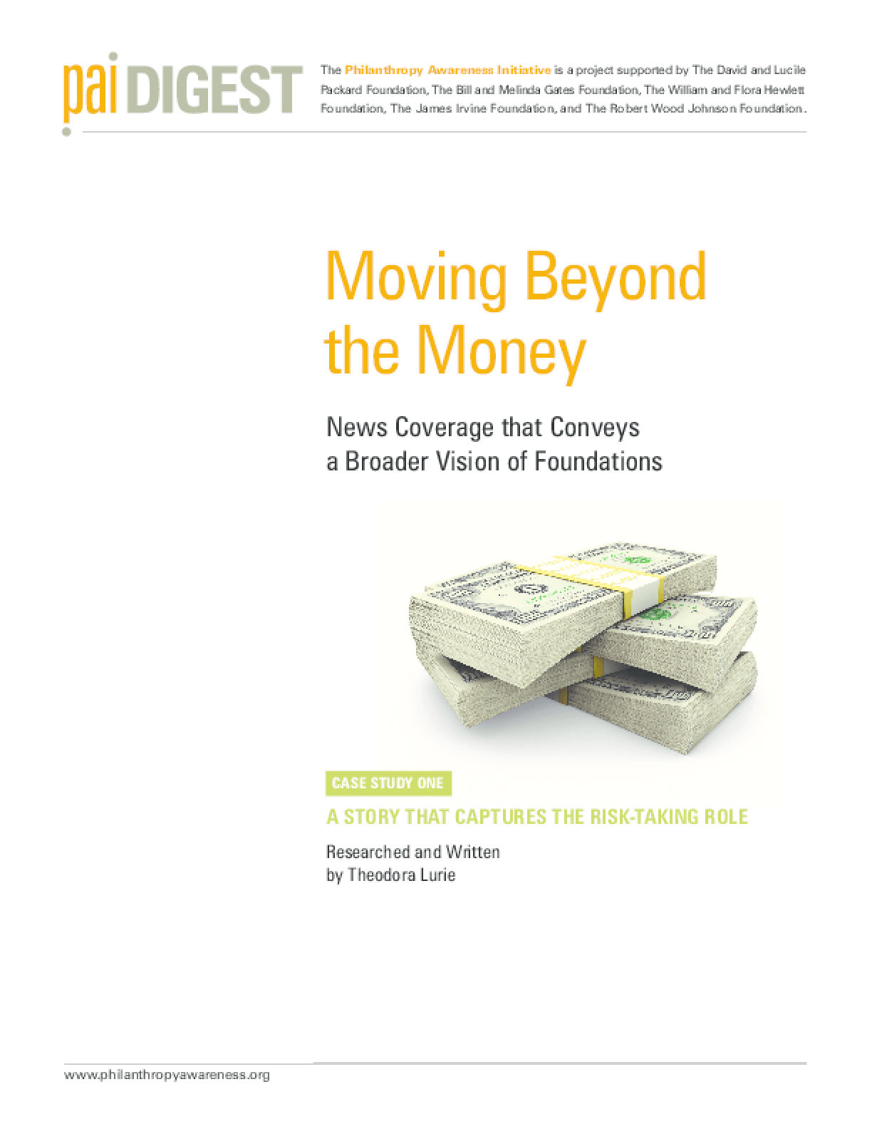 Moving Beyond the Money: News Coverage That Conveys a Broader Vision of Foundations
