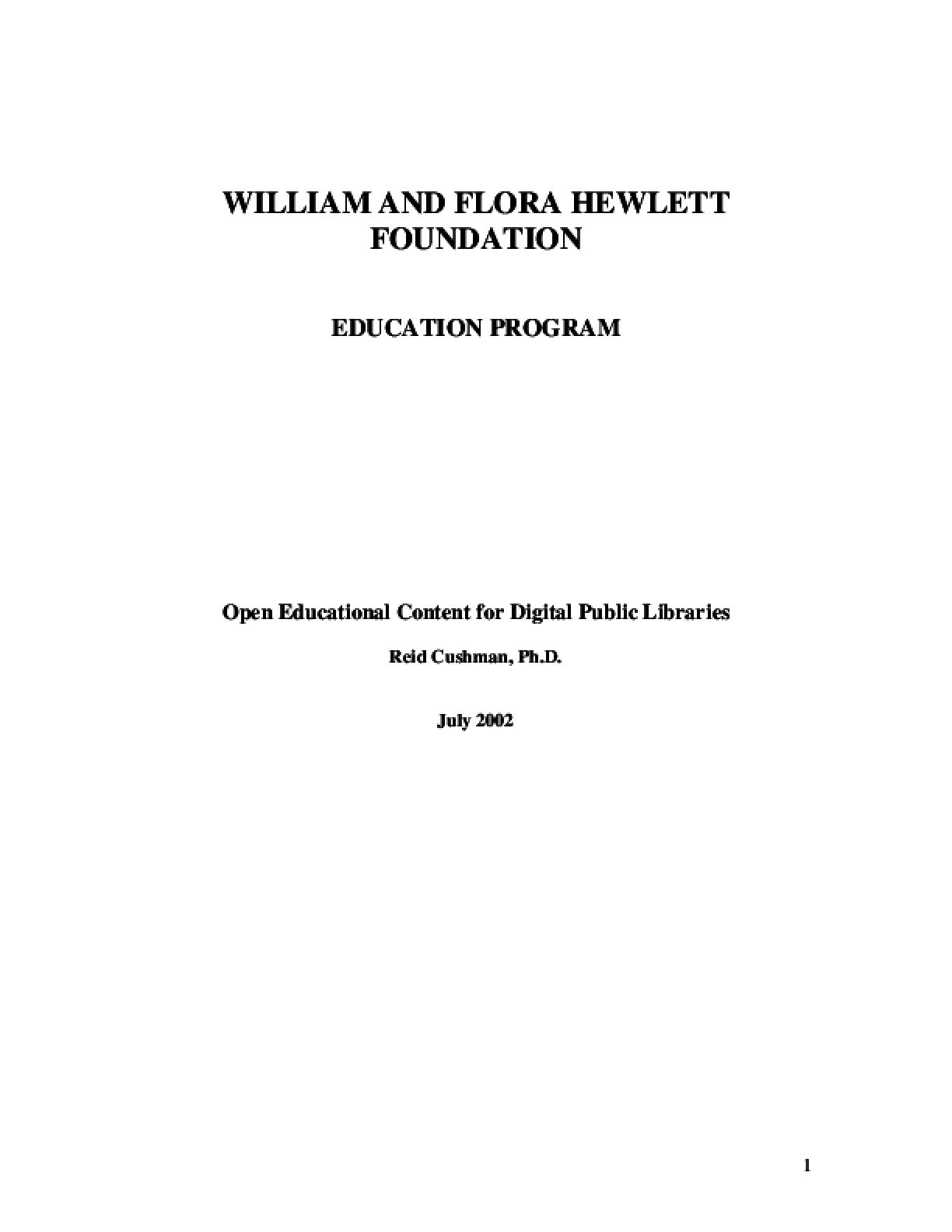 Open Educational Content for Public Digital Libraries