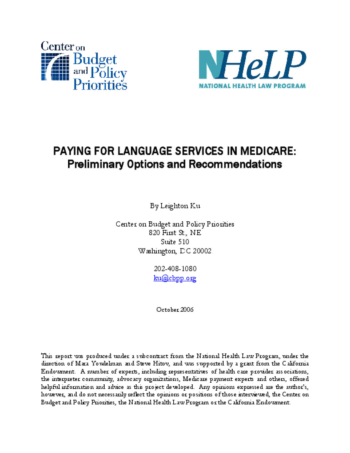 Paying for Language Services in Medicare: Preliminary Options and Recommendations