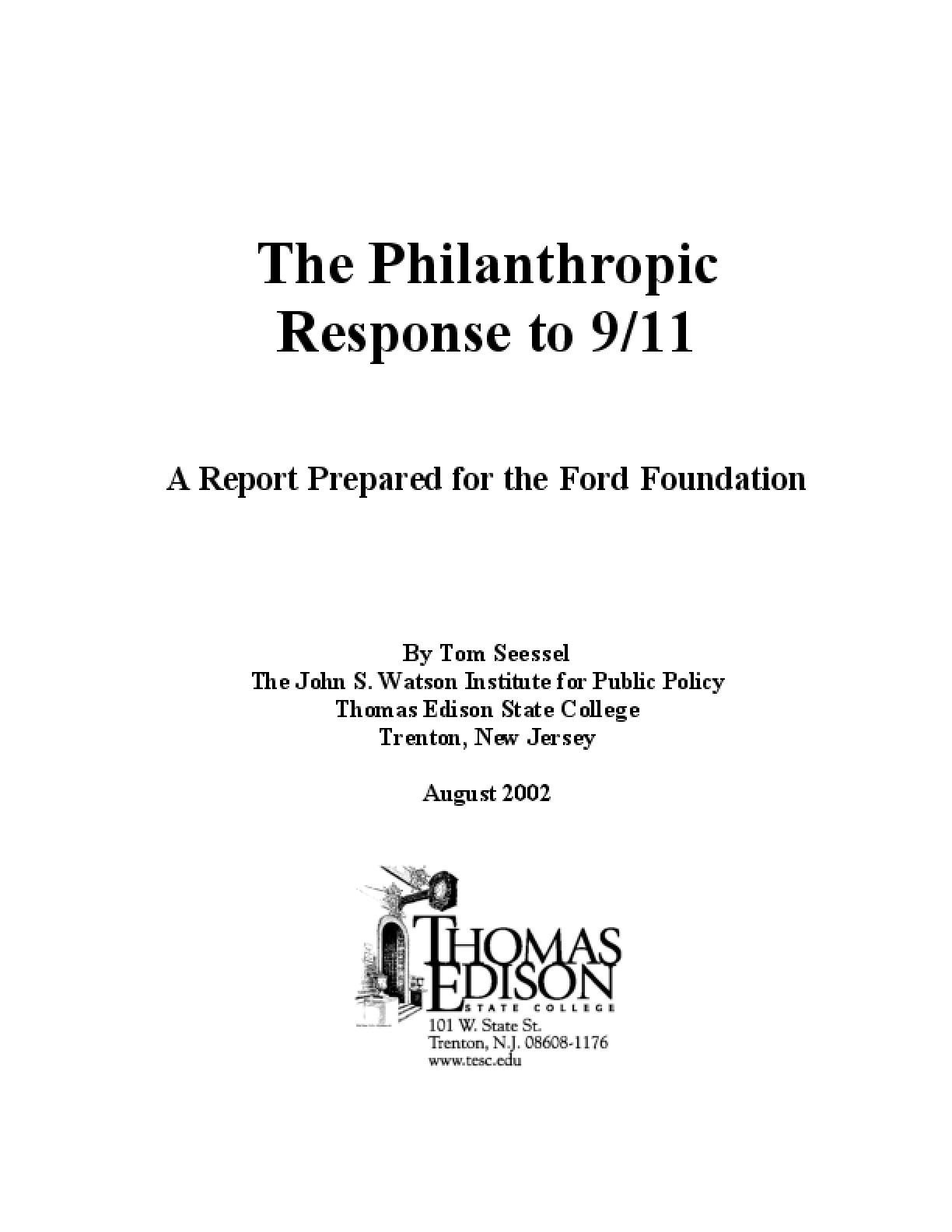 The Philanthropic Response to 9/11