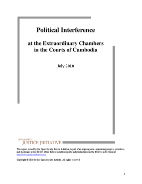 Political Interference at the Extraordinary Chambers in the Courts of Cambodia