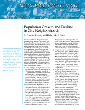 Population Growth and Decline in City Neighborhoods