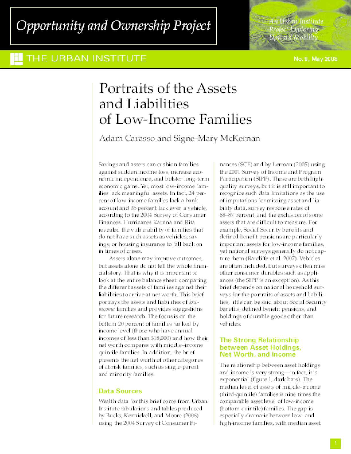 Portraits of the Assets and Liabilities of Low-Income Families