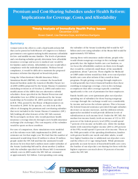 Premium and Cost-Sharing Subsidies Under Health Reform: Implications for Coverage, Costs and Affordability