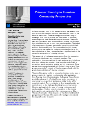 Prisoner Reentry in Houston: Community Perspectives