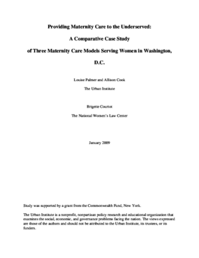 Providing Maternity Care to the Underserved: A Comparative Case Study of Three Maternity Care Models Serving Women in Washington, D.C.