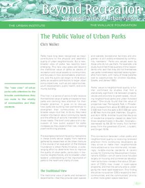 The Public Value of Urban Parks