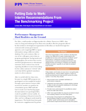Putting Data to Work: Interim Recommendations From the Benchmarking Project