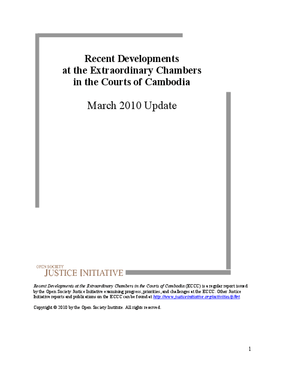 Recent Developments at the Extraordinary Chambers in the Courts of Cambodia: March 2010 Update