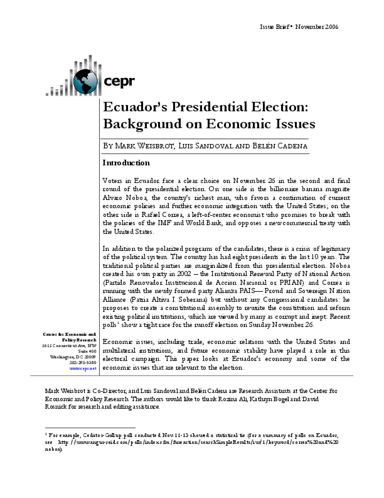 Ecuador's Presidential Election: Background on Economic Issues