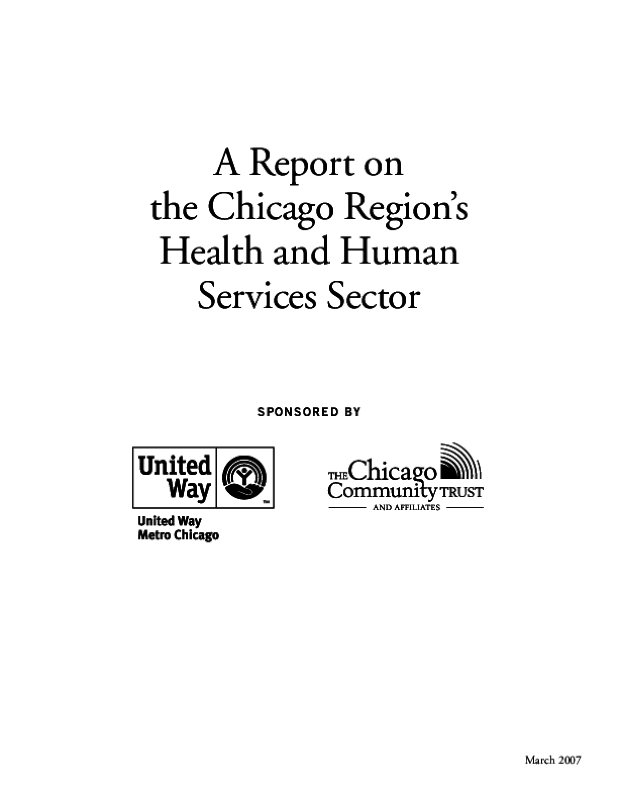 A Report on the Chicago Region's Health and Human Services Sector