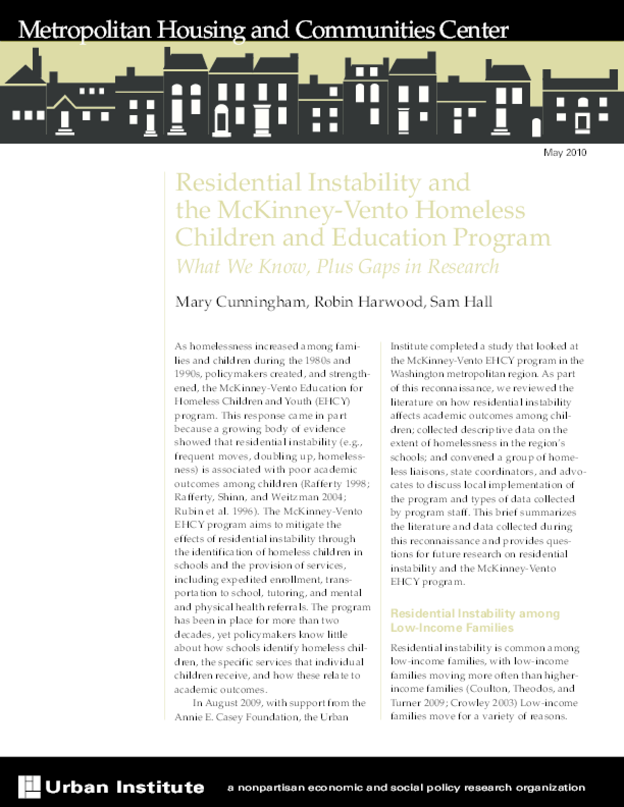 Residential Instability and the McKinney-Vento Homeless Children and Education Program: What We Know, Plus Gaps in Research