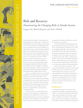Risk and Recovery: Documenting the Changing Risks to Family Incomes