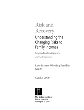 Risk and Recovery: Understanding the Changing Risks to Family Incomes