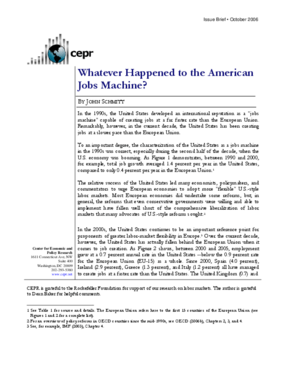 Whatever Happened to the American Jobs Machine?