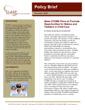 State CCDBG Plans to Promote Opportunities for Babies & Toddlers in Child Care