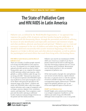 The State of Palliative Care and HIV/AIDS in Latin America