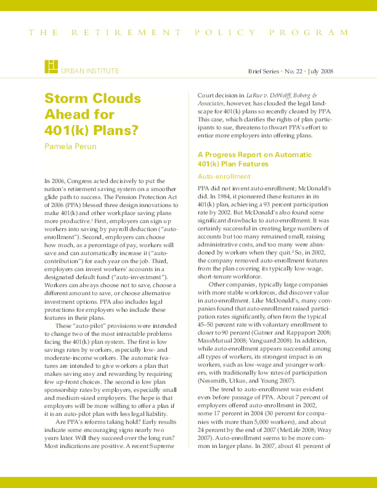 Storm Clouds Ahead for 401(k) Plans?