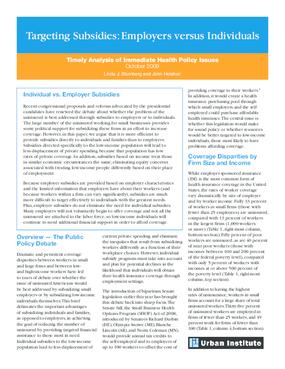 Targeting Subsidies: Employers Versus Individuals