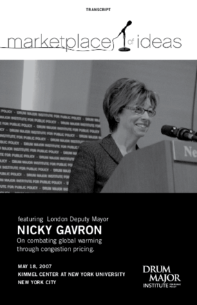 Marketplace of Ideas: Combating Global Warming through Congestion Pricing with London Deputy Mayor Nicky Gavron