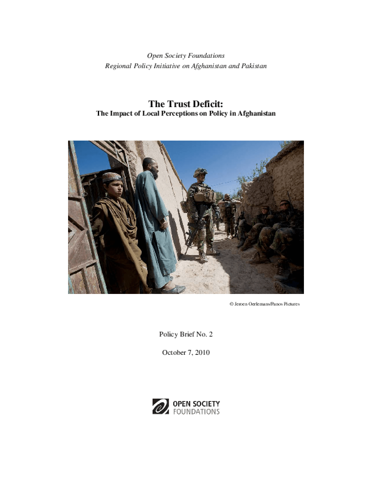 The Trust Deficit: The Impact of Local Perceptions on Policy in Afghanistan