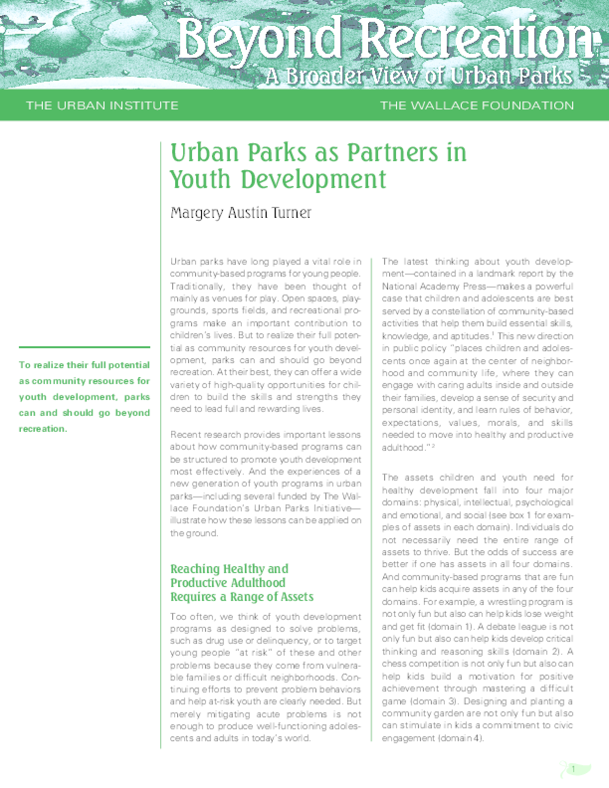 Urban Parks as Partners in Youth Development