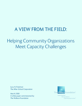 A View From the Field: Helping Community Organizations Meet Capacity Challenges