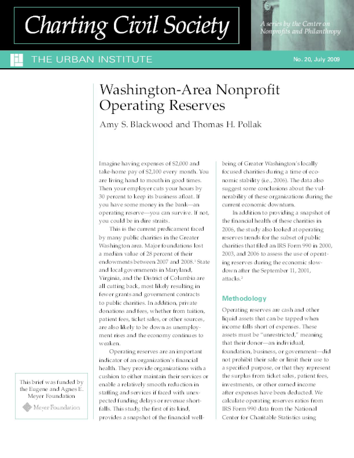 Washington-Area Nonprofit Operating Reserves
