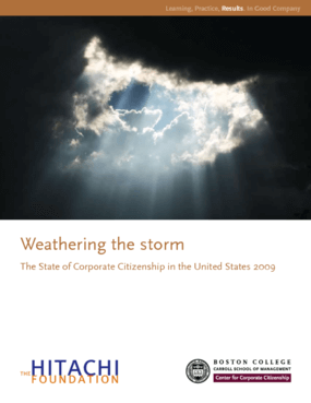 Weathering the Storm: The State of Corporate Citizenship in the United States 2009