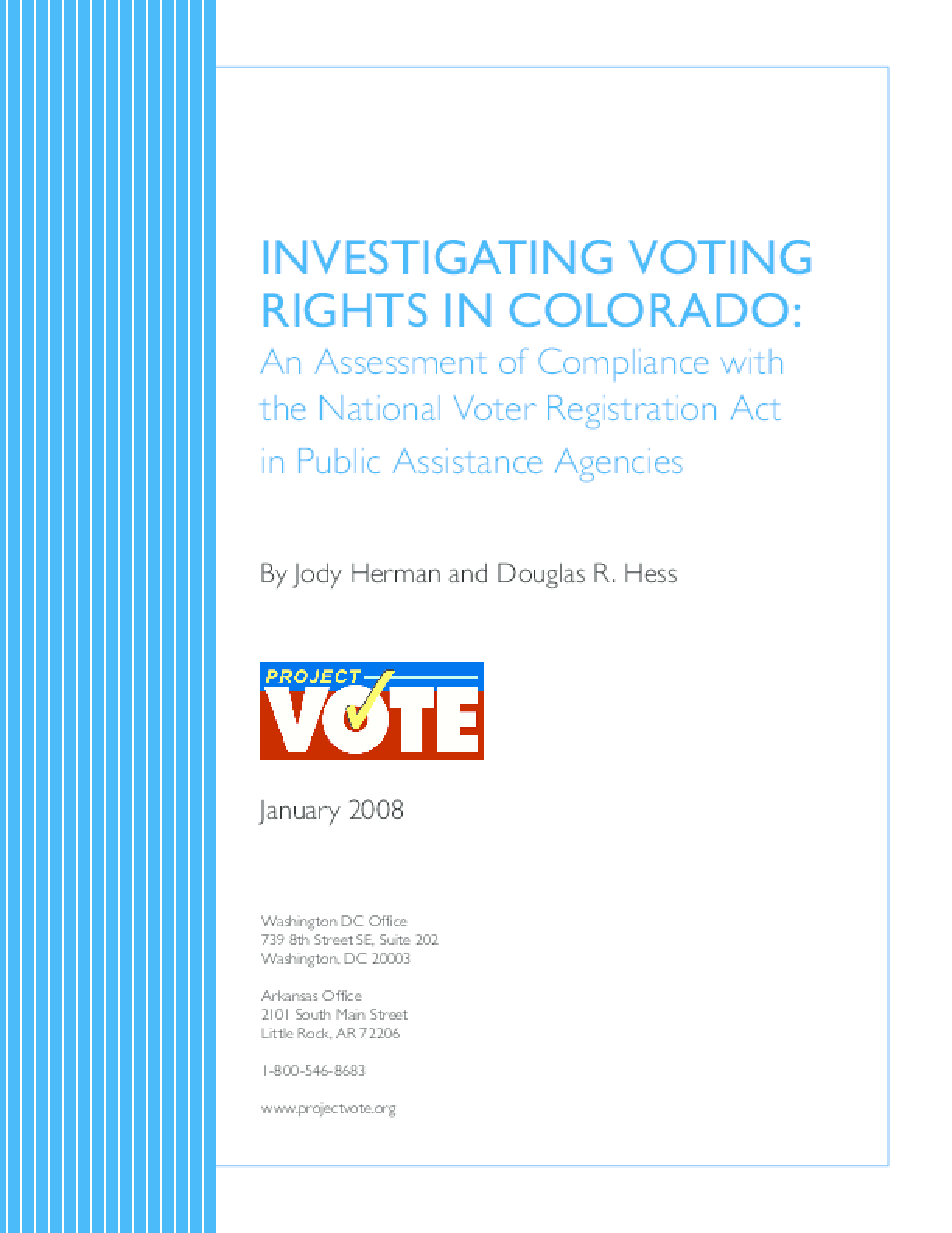 Investigating Voting Rights in Colorado: An Assessment of Compliance with the National Voter Registration Act in Public Assistance Agencies