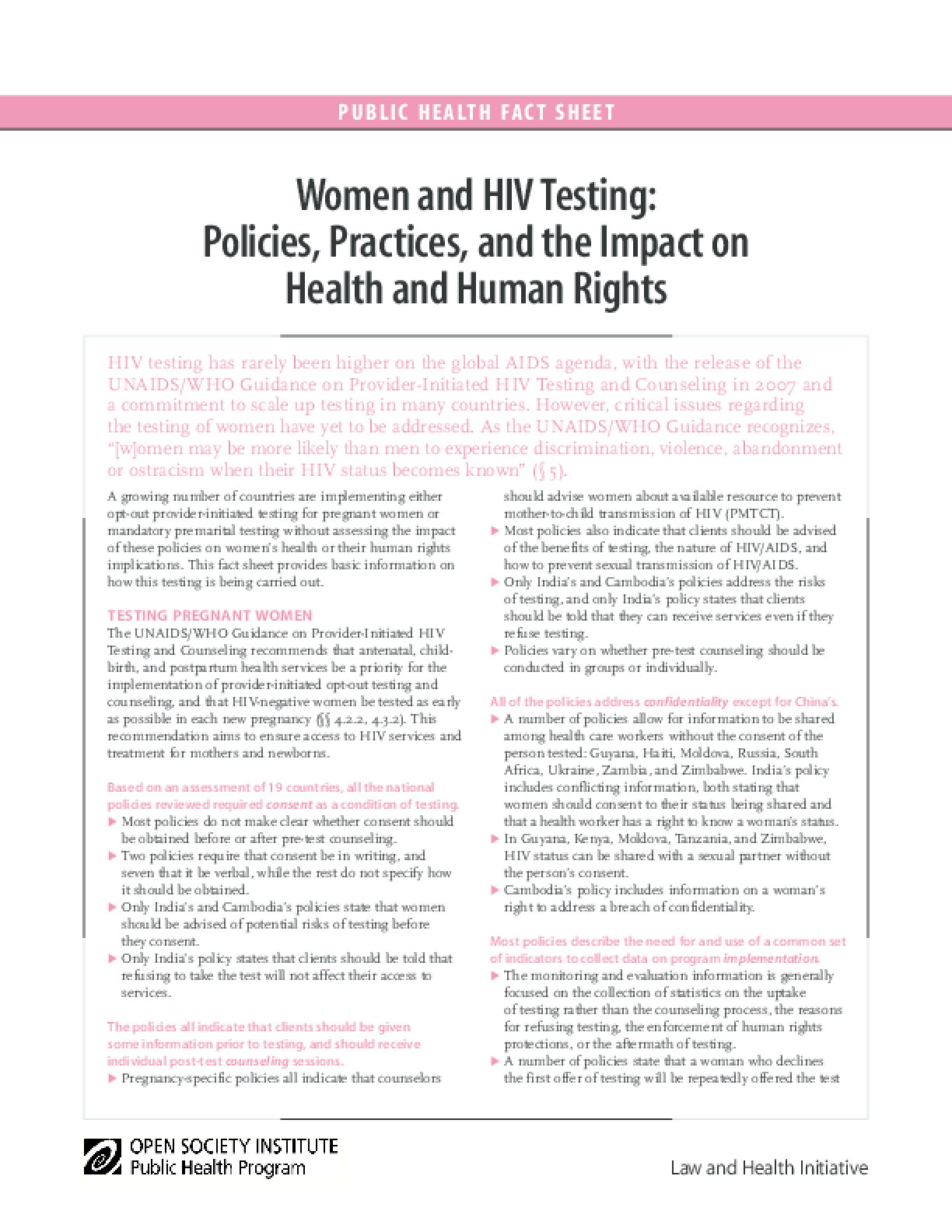 Women and HIV Testing: Policies, Practices, and the Impact on Health and Human Rights