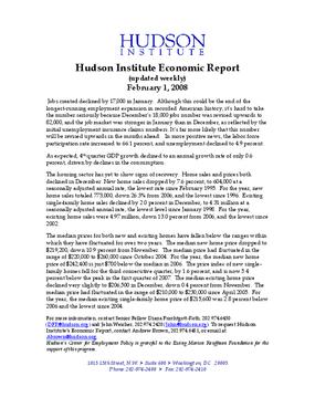 Hudson Institute Economic Report 02-1-2008