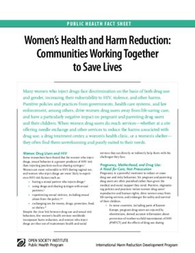 Women's Health and Harm Reduction: Communities Working Together to Save Lives