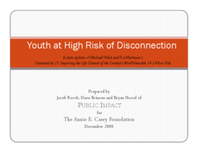 Youth at High Risk of Disconnection