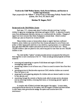 Youth in the Child Welfare System: Goals, Recent Reforms, and Barriers to Further Improvements