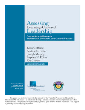 Assessing Learning-Centered Leadership: Connections to Research, Professional Standards, and Current Practices