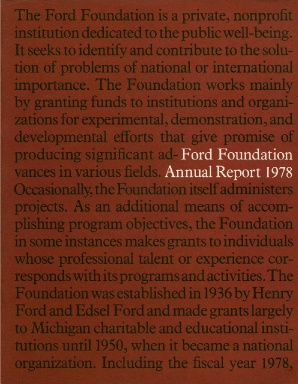Ford Foundation - 1978 Annual Report