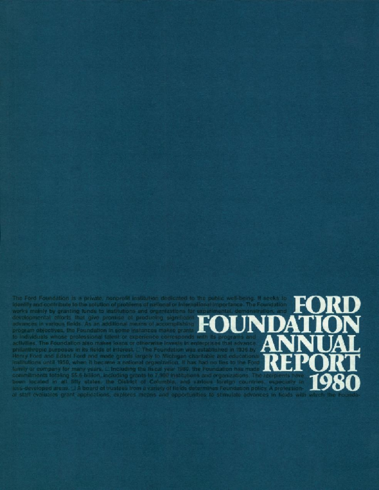 Ford Foundation - 1980 Annual Report