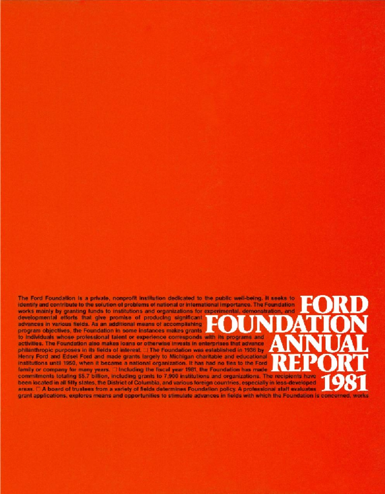 Ford Foundation - 1981 Annual Report