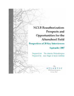 NCLB Reauthorization: Prospects and Opportunities for the Afterschool Field