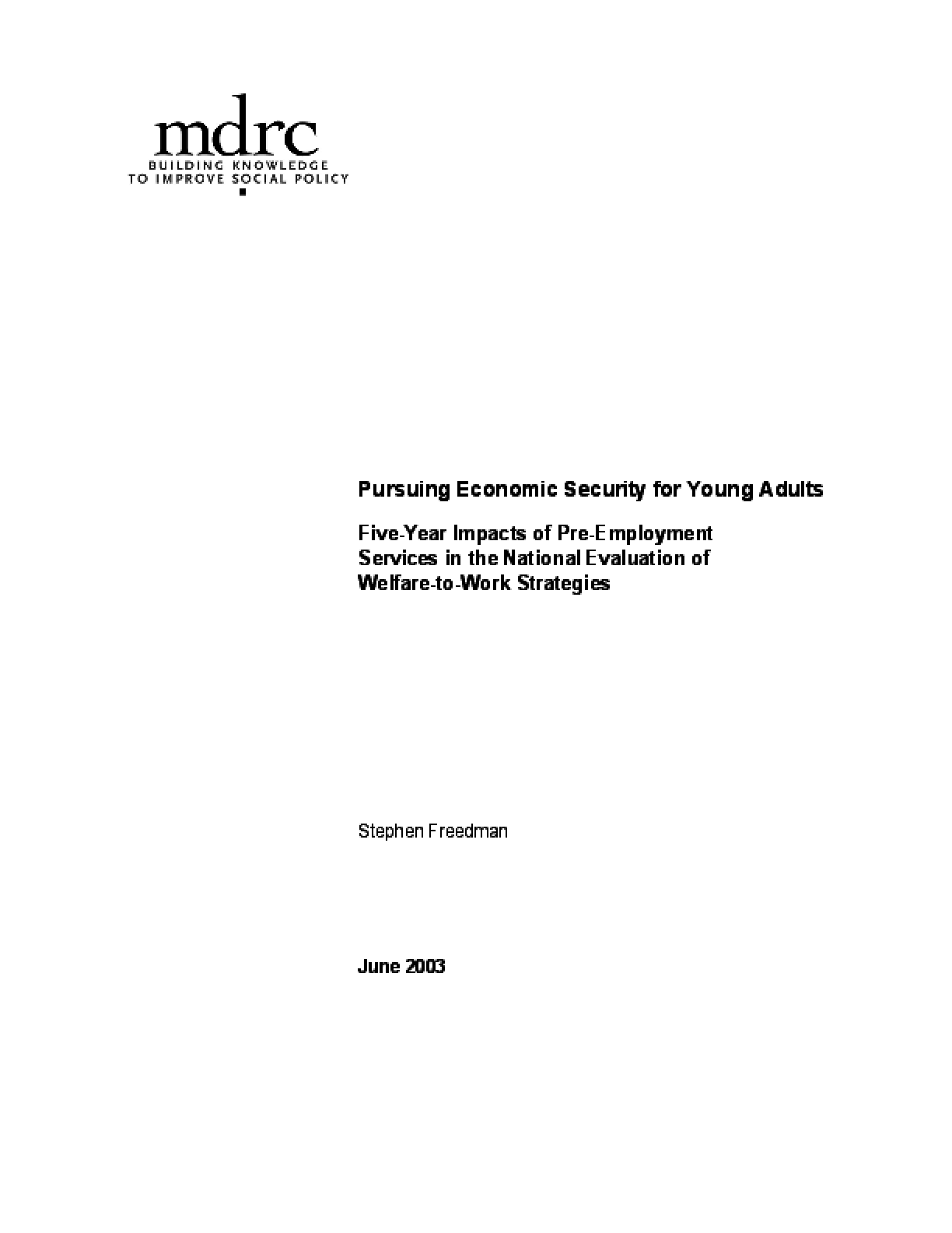 Pursuing Economic Security for Young Adults